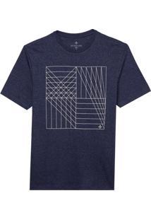 Camiseta Dudalina Manga Curta Decote Careca Estampa Geométrica Malha Masculina (Azul Marinho, Gg)