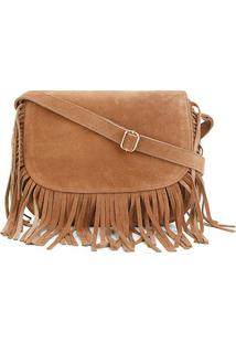 Bolsa Shoestock Camurça Franja Saddle Feminina - Feminino-Caramelo