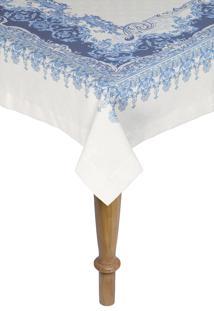 Toalha De Mesa Quadrada Kacyumara Linha K Linho 160X160Cm Nobele Azul