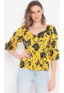 Blusa Floral Com Babados Operate Feminina - Feminino-Amarelo