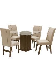 Conjunto De Mesa Para Sala De Jantar Com 4 Cadeiras Saint Louis-Dobue - Castanho / Creme