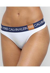 Calcinha Calvin Klein Fio Dental Cotton 1981 - Feminino-Branco