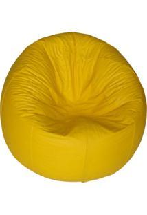 Puff Redondo Pop Corino Amarelo