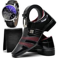 a0bd47723 Kit Sapato Social Com Relógio Cinto Carteira Top Flex Verniz 813 Preto E  Vinho