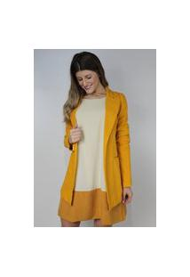 Blazer Dona Popi Alongado Slim Amarelo