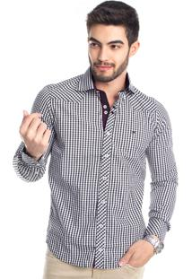 Camisa Tony Menswear Xadrez Slim Azul Marinho