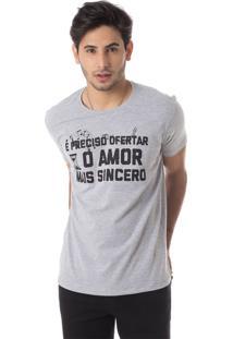 Camiseta O Amor Mais Sincero Gola Redonda Thiago Brado 1107000005 Cinza
