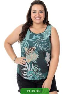 Blusa De Estampa Animal Print Verde