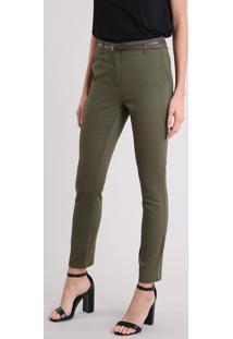 Calça Feminina Skinny Em Piquet Com Cinto Verde Militar