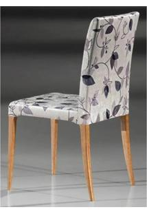 Cadeira Flox Cor Nogal Tecido Chenile Floral Roxo - 23006