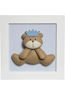 Quadro Decorativo Urso Príncipe Quarto Bebê Infantil Menino Potinho De Mel Azul