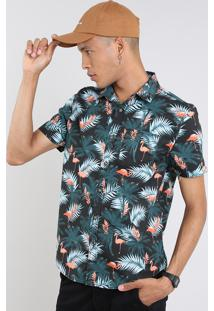 Camisa Masculina Estampada De Flamingos Tropical Manga Curta Preta