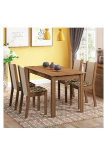 Conjunto Sala De Jantar Madesa Bea Mesa Tampo De Madeira Com 4 Cadeiras - Rustic/Crema/Bege Marrom Marrom