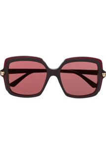 Cartier Eyewear Óculos De Sol Oversized Panthère - Marrom