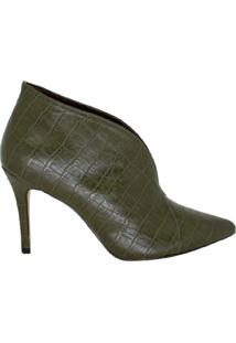 Ankle Boot Salto Alto Bico Fino Marjorie Verde