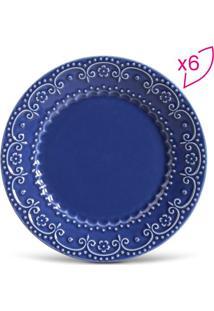 Jogo De Pratos Rasos Esparta- Azul Escuro- 6Pçs-Porto Brasil
