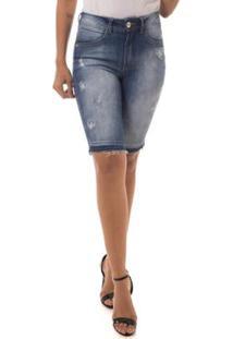Bermuda Jeans Osmoze Mid Rise Middle Plus Feminina - Feminino
