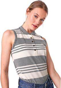 Camisa Polo Dudalina Listrada Bege/Cinza