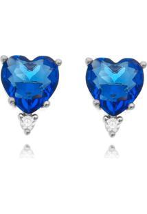 Brinco Waufen Coração E Ponto De Luz Azul