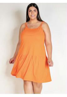 Vestido Laranja Com Franzido E Alças Plus Size