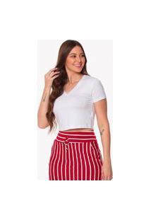 Camiseta Cropped Daniela Cristina Decote V 256Dc10041 Branco