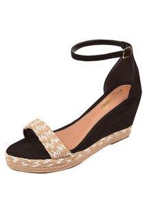 Sandália Uzze Sapatos Anabela Confort Faixa Preta