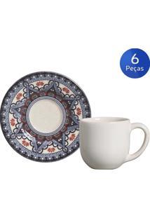 Conjunto 6 Xícaras De Café Com Pires Constantinopla - Porto Brasil - Multicolorido