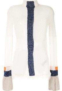 Mame Kurogouchi Blusa De Tricô Translúcida - Branco