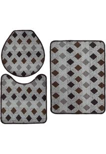 Jogo De Tapete Para Banheiro Pratik 3 Peças Mosaico Marrom Oasis - Tricae