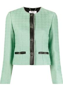 Salvatore Ferragamo Leather-Trim Jacket - Verde