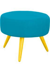 Puff Decorativo Angel Pés Palito Amarelo Suede Lymdecor Azul