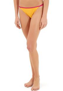 Calcinha Rosa Chá Lu Canelado Bicolor Beachwear Amarelo Rosa Feminina (Amarelo/Rosa, G)