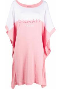 Balmain Vestido Com Estampa De Logo - Rosa