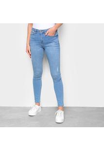Calça Jeans Skinny Calvin Klein Estonada Puídos Cintura Média Feminina - Feminino-Azul Claro