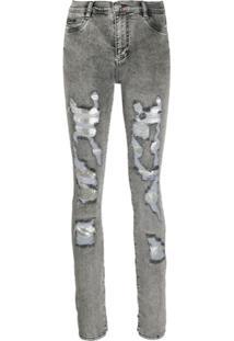 Philipp Plein Calça Jeans Com Efeito Destroyed - Cinza