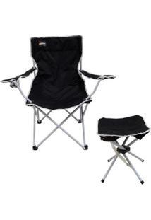Cadeira Dobrável Alvorada Com Porta Copo + Banqueta Dobrável Stool Nautika - Unissex