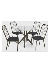 Conjunto Mesa Volga C/ 4 Cadeiras Viena Bronze/Branco Kappesberg Crome