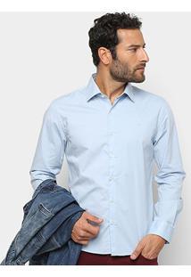 Camisa Manga Longa Ellus Tricoline Slim Masculina - Masculino