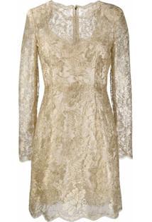 Dolce & Gabbana Vestido Com Renda Floral - Dourado