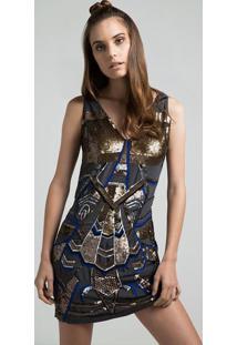 Vestido Com Paetãªs - Cinza Escuro & Douradopop Up
