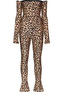 Halpern Macacão Ombro A Ombro Com Estampa De Leopardo - Neutro