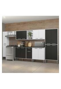 Cozinha Completa Compacta C/ Armário E Balcáo C/ Tampo 7 Pçs Xangai Blues Multimóveis Branca/Preta