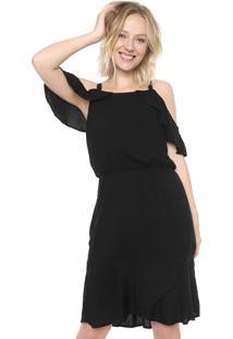 Vestido Ciganinha Mercatto Curto Liso Preto