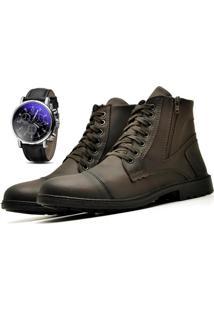 Bota Coturno Com Relógio Adventure Social R501L Marrom