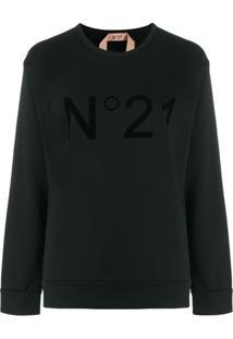Nº21 Blusa De Moletom Com Logo - Preto