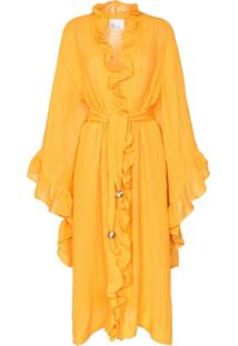Lisa Marie Fernandez Robe Anita Com Babados - Amarelo
