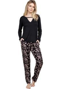 Pijama Inspirate Longo Lux Feminino - Feminino-Preto+Bege