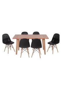 Conjunto Mesa De Jantar Em Madeira 150X80 Vértice + 6 Cadeiras Botonê - Preto