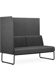 Sofa Privativo Pix Com Lateral Direita Aberta Assento Mescla Cinza Escuro Base Aco Preto - 54979 - Sun House