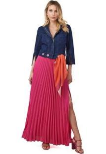 Jaqueta Jeans Morena Rosa Cropped Com Recorte Feminino - Feminino-Azul